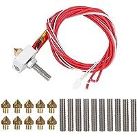ASHATA Kit Accesorios de Impresora 3D,Reemplazo Calentamiento del Extrusor MK8 para 3D Printer ABS PLA 1,75 mm,MK8,i3,E3D,Anet A8,Alunar M508,CR7,V2,etc.( Boquillas+Bloque de Calefacción+Line Pipe)