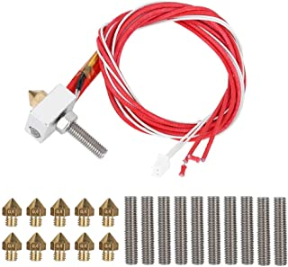 ​Extruder Hot End Part Assembled DIY Hotend with 10pcs 30mm Line Pipe and 0.4mm Nozzle 12V 40W Heating Rod fits for 1.75mm PLA ABS 3D Printer, Replacement Hot Ends for MK8, i3, Anet A8,Alunar etc