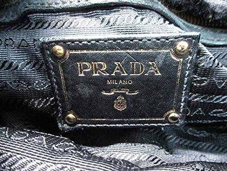 52e074dc6afc Amazon.co.jp: (プラダ)PRADA トートバッグ ロゴジャガード 黒×ダークブラウン BN1757 【中古】: 服&ファッション小物