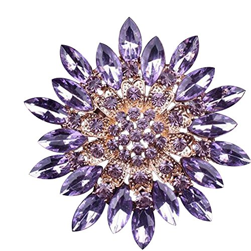 (SANWOOD Women Fashion Rhinestone Flower Wedding Bridal Bouquet Brooch broaches Pin breastpin (Purple))