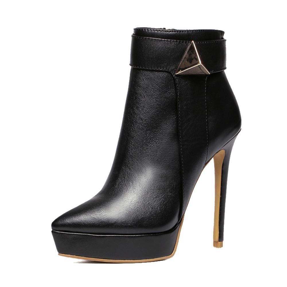 Mode frauen kurze stiefel leder super thin high heels spitz side zipper ankle schuhe