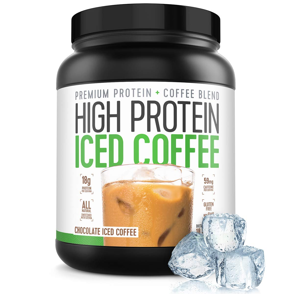 Protein Coffee Iced Coffee | High Protein Coffee | Protein Coffee - Keto Friendly | 18g of Protein, 2g Carbs, All Natural | Chocolate Iced Coffee, 18 Servings by High Protein Iced Coffee