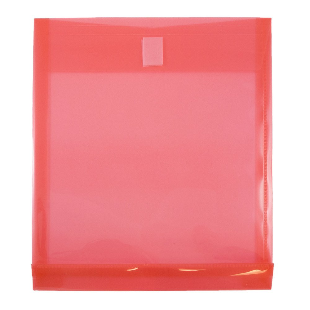 JAM PAPER Plastic Expansion Envelopes with Hook & Loop Closure - Letter Open End - 9 3/4 x 11 3/4 with 1 Inch Expansion - Red - 12/Pack