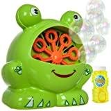 Fineway. Portable Froggy Bubble Machine – 500 Bubbles Per Minute Colourful Spinning Blower, Ideal for Kids Birthday Parties, BBQs, Toy for Boys Girls Children With 4Oz Solution Included