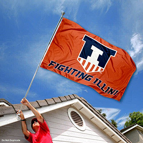 College Flags and Banners Co Illinois Fighting Illini Victory Badge Double Sided Flag