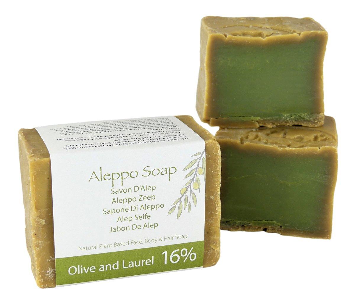 Jabón Natural de Alepo (jabón de Alepo tradicional, hecho a mano) con aceite de oliva y laurel 200g Green Bear UK