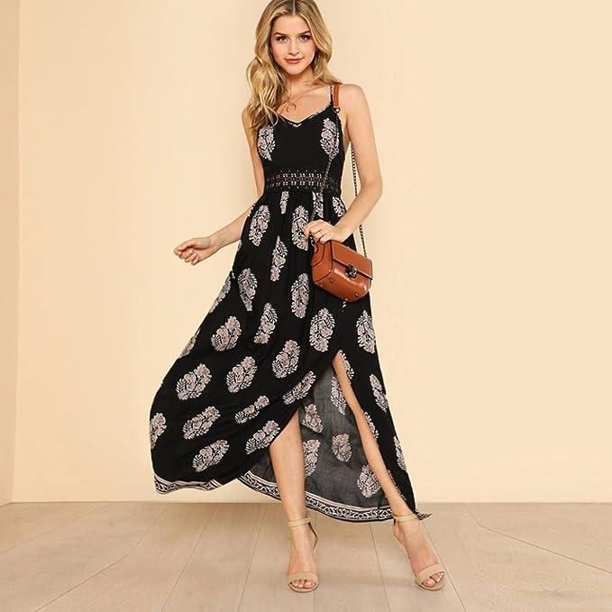 Joint Womens Feather Long Boho Hollow Dress, 2018 Summer Beach Party Sundress Maxi Dresses (X-Large): Amazon.co.uk: Clothing