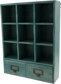 Tubayia Estantería vintage de madera con 9 compartimentos y 2 cajones