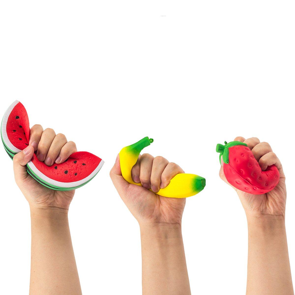 Pamase 3 Stücke Squishies Früchte Erdbeere Banane Wassermelone Obst