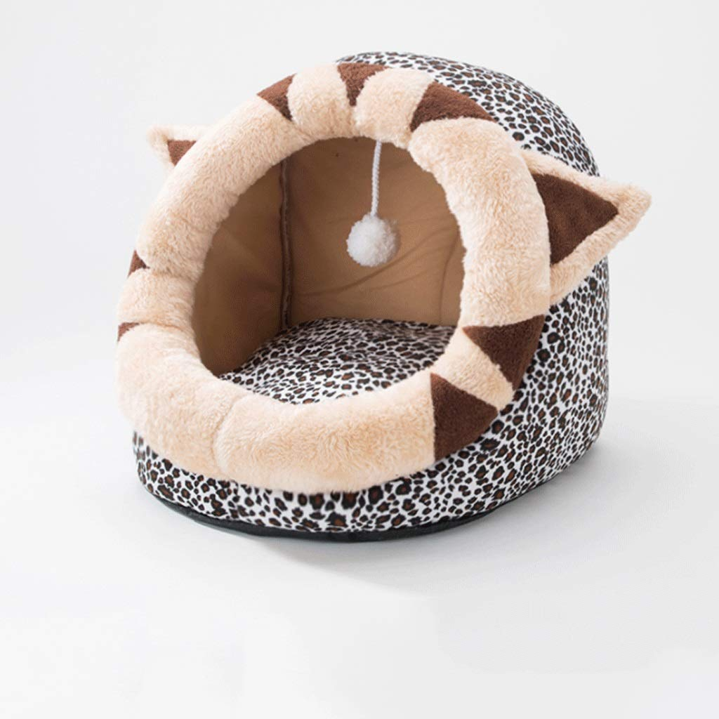Cheetah pattern 45×42×34cmKL Pumpkin Cat Litter Multiple Style Semiclosed Winter Warm Detachable Clean Pet House Living Room Bedroom Balcony Universal Kennel (color   Yellow, Size   45×42×34cm)