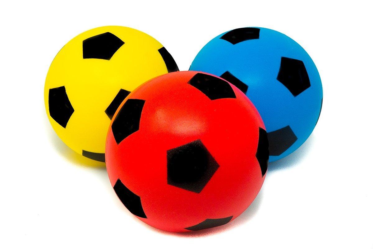 20 cm rojo y amarillo E-Deals Pack de 3 pelotas de esponja para deportes de interior y exterior color azul