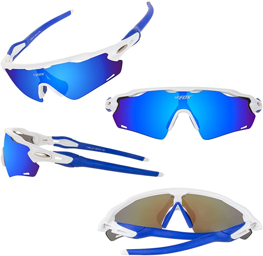 BATFOX Polarisierte Sonnenbrillen Fahrradbrille Radbrille Sportbrille Herren Damen f/ür Radsport Fahrrad Baseball Skifahren Sport Brille mit Wechselobjektiven unzerbrechlichem Rahmen
