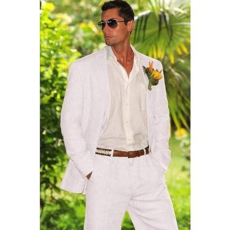 GFRBJK Blanco Ivory Linen Men Suit Traje de Boda para Padrinos de ...