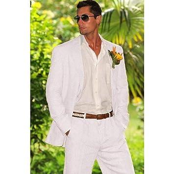 GFRBJK Blanco Ivory Linen Men Suit Traje de Boda para ...
