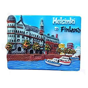 Helsinki Capital of Finland 3D Fridge Magnet Travel Souvenir Gift Collection,Home & Kitchen Decoration Magnetic Sticker Helsinki Finland Refrigerator Magnet