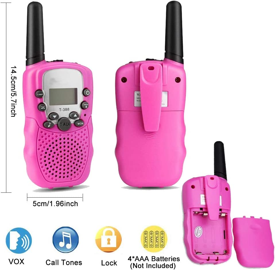 Wanfei Walkie Talkies Kids Kids Toys Gift for Festival Birthday Camping Hiking Biking Outdoor -2 PCS 8 Channel Radio with LCD Flashlight 3 KM Long Range with VOX Wireless Children Walky Talky