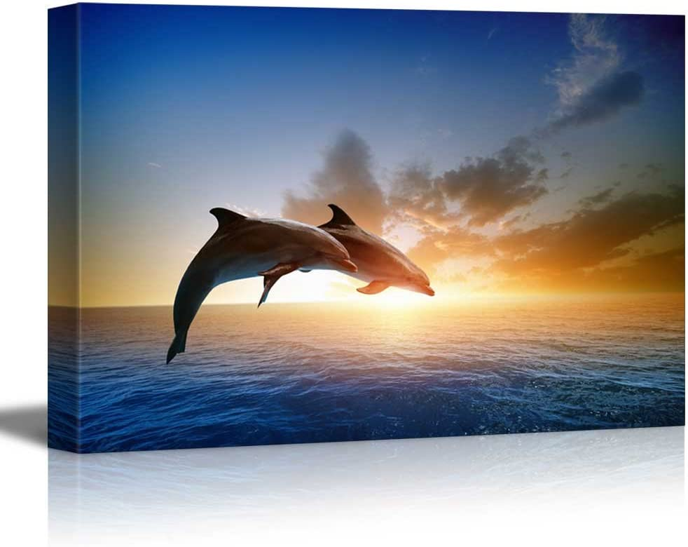Unbelievable Print, Two Jumping Dolphins at Sunset Wall Decor, That You Will Love