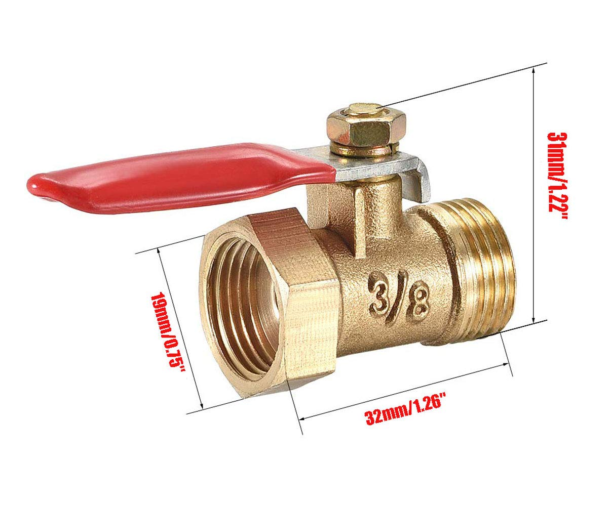 Lheng 1//2 Inch Brass Ball Valve Shut Off Switch 1//2 Inch Male to Female Pipe Tubing Fitting Coupler 180 Degree Operation Handle 4Pcs