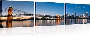 Cincinnati Skyline Wall Art Night John Roebling Suspension Bridge and Ohio River Panoramic Colorful Photograph HD Print Framed Home Decor for living Room, Badroom, Bathroom, Office 14x20 inch x3