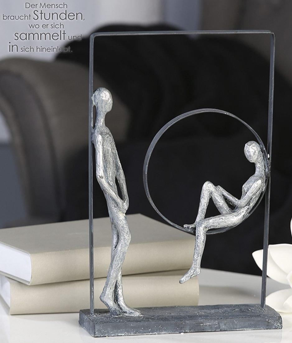 Skulptur Relax Poly Metall, antik-silber H. 31 cm