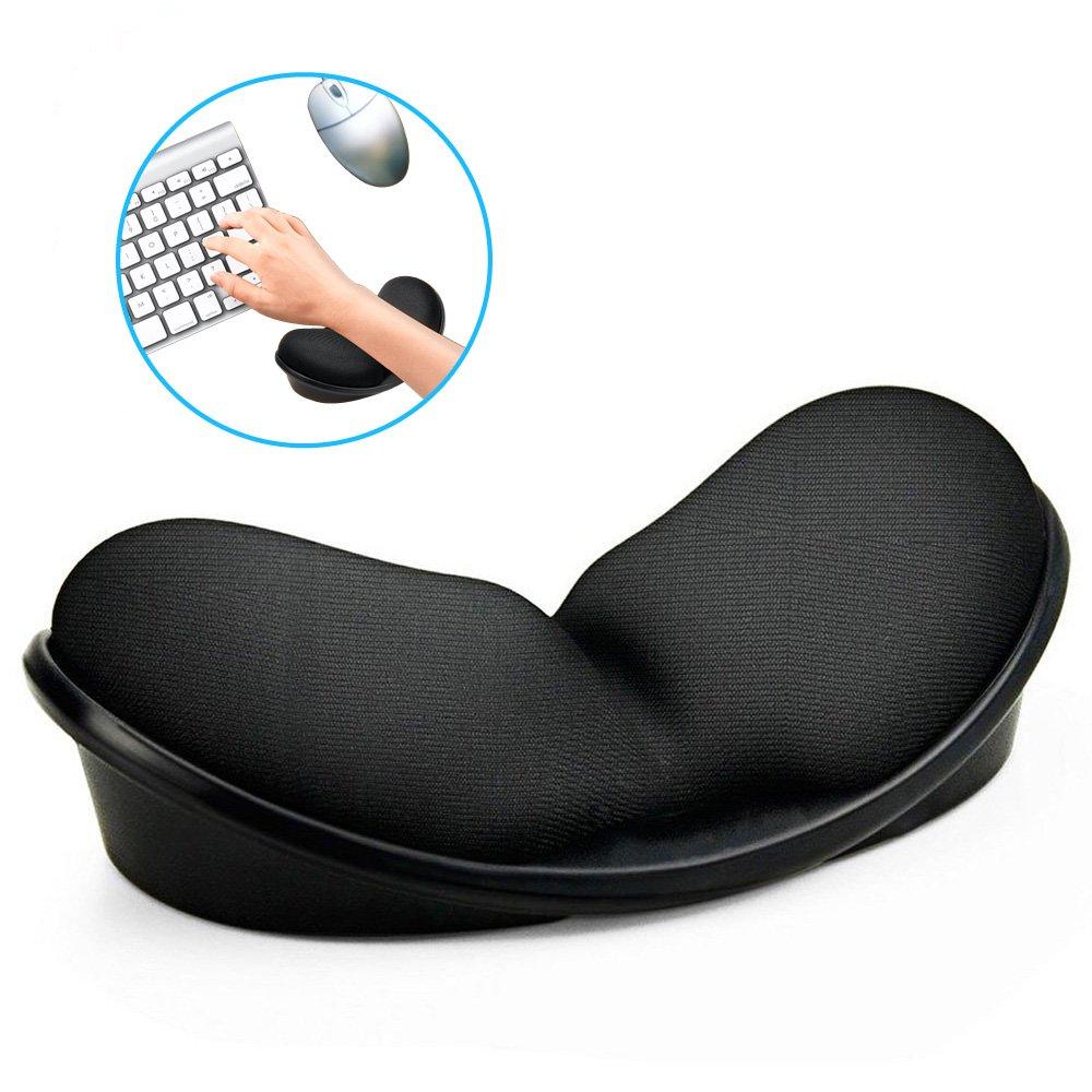Mouse Wrist Rest,KATUMO Ergonomic Wrist Pad, Anti-skid Wrist Support Pad, Memory Foam Mouse Wrist Rest Keyboard Wrist Rest for Office PC Laptop Computer Gaming-Black