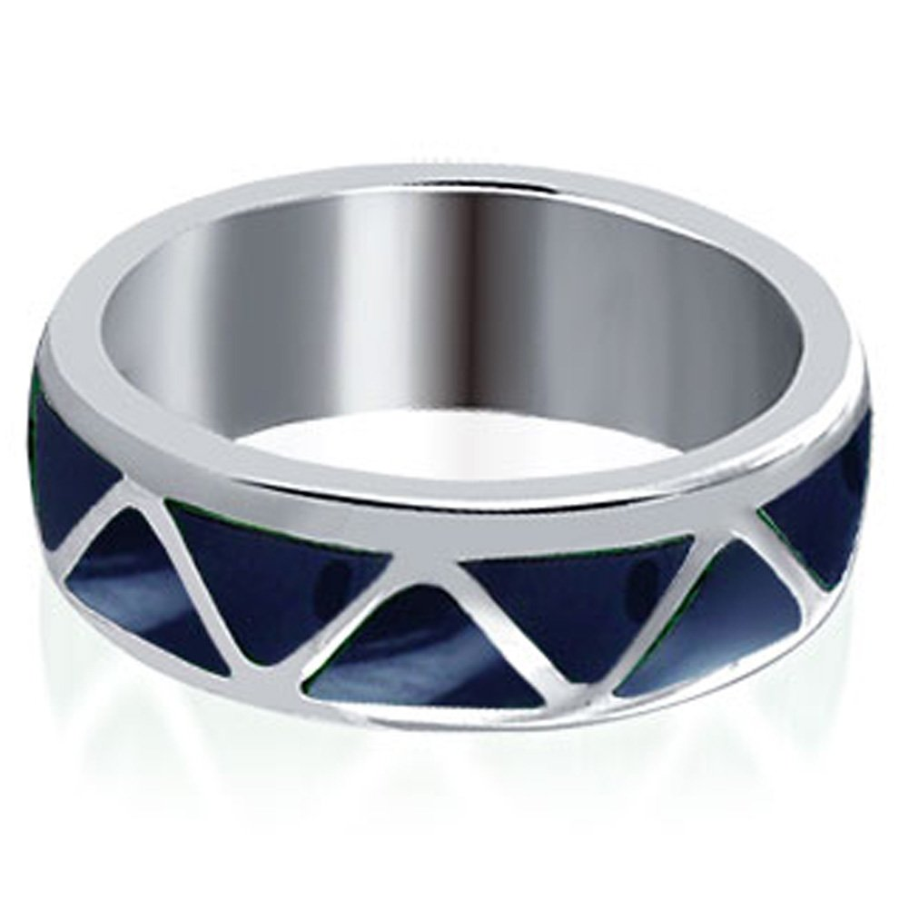 Gem Avenue Unisex Sterling Silver 6mm Wide Simulated Lapis Lazuli Band by Gem Avenue (Image #2)