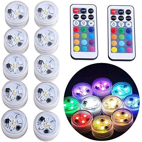 "ZXX Mini Submersible Led Lights with Remote, Small Underwater Led Tea Lights Waterproof 1.5"" RGB Multicolor Battery Operated Vase Pool Pond Decoration Lighting (10pcs)"