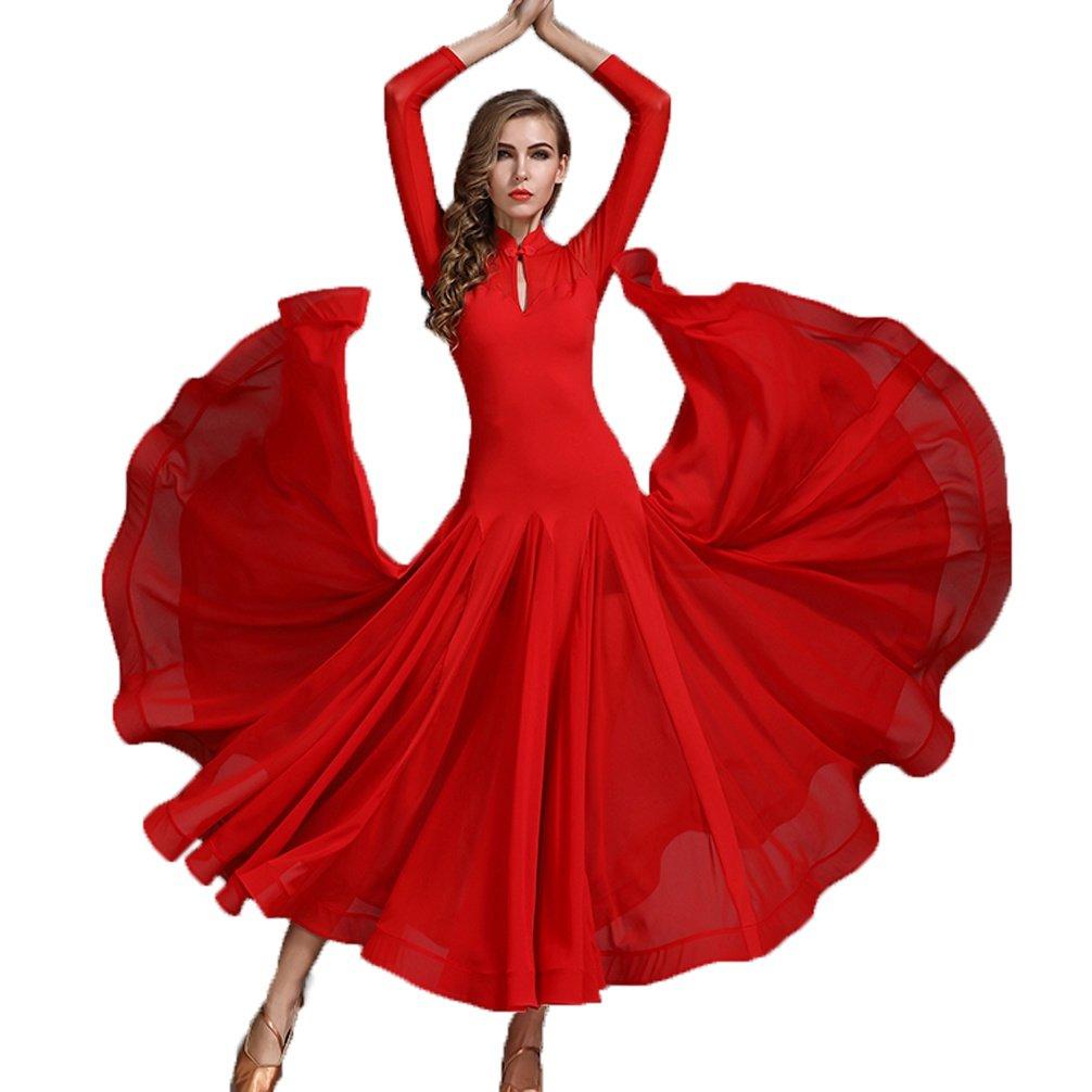 Wangmei Selbstkultivierung Ballsaal Tanzkleider für Frauen Retro Kragen Aushöhlen Wettbewerb Kleider Walzer Moderner Tanz Outfit Mesh Spleißen B07CPXCQF8 Bekleidung Einzigartig