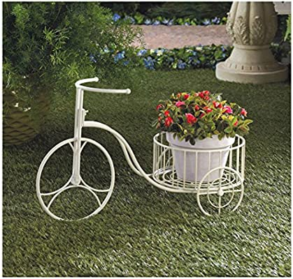Nueva Adorable blanco carretilla soporte Patio Patio jardín decoración: Amazon.es: Jardín