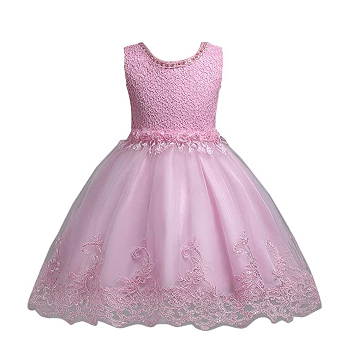 Amazon.com: Baby Girl Dress Daoroka Kids Flower Sleeveless Princess ...