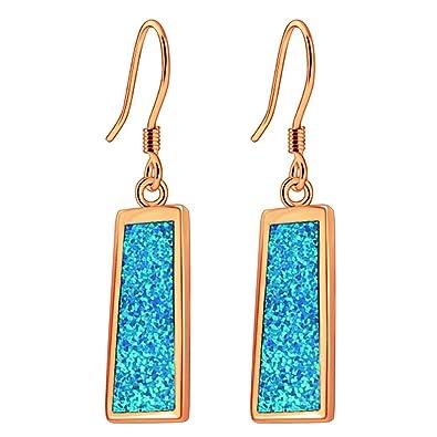 14fe0a58594030 Sinlifu Rectangle Dangle Earrings for Women Rose Gold Plated Blue Fire Opal Jewelry  Silver Earring (