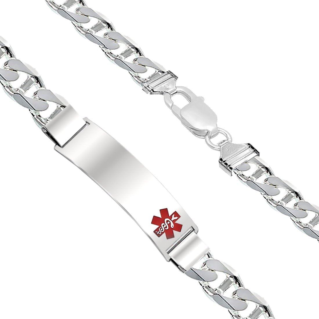Sterling Silver Rhod-plated Childrens Medical ID Anchor Link Bracelet Length 6