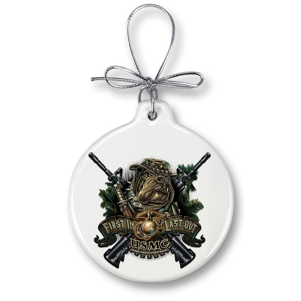 Marine Christmas Ornaments – Devil Dog First In Last Out - Stone Military Gifts for Men or Women – Patriotic Ornaments with a Silver Ribbon – Xmas Ornaments (1 Piece)