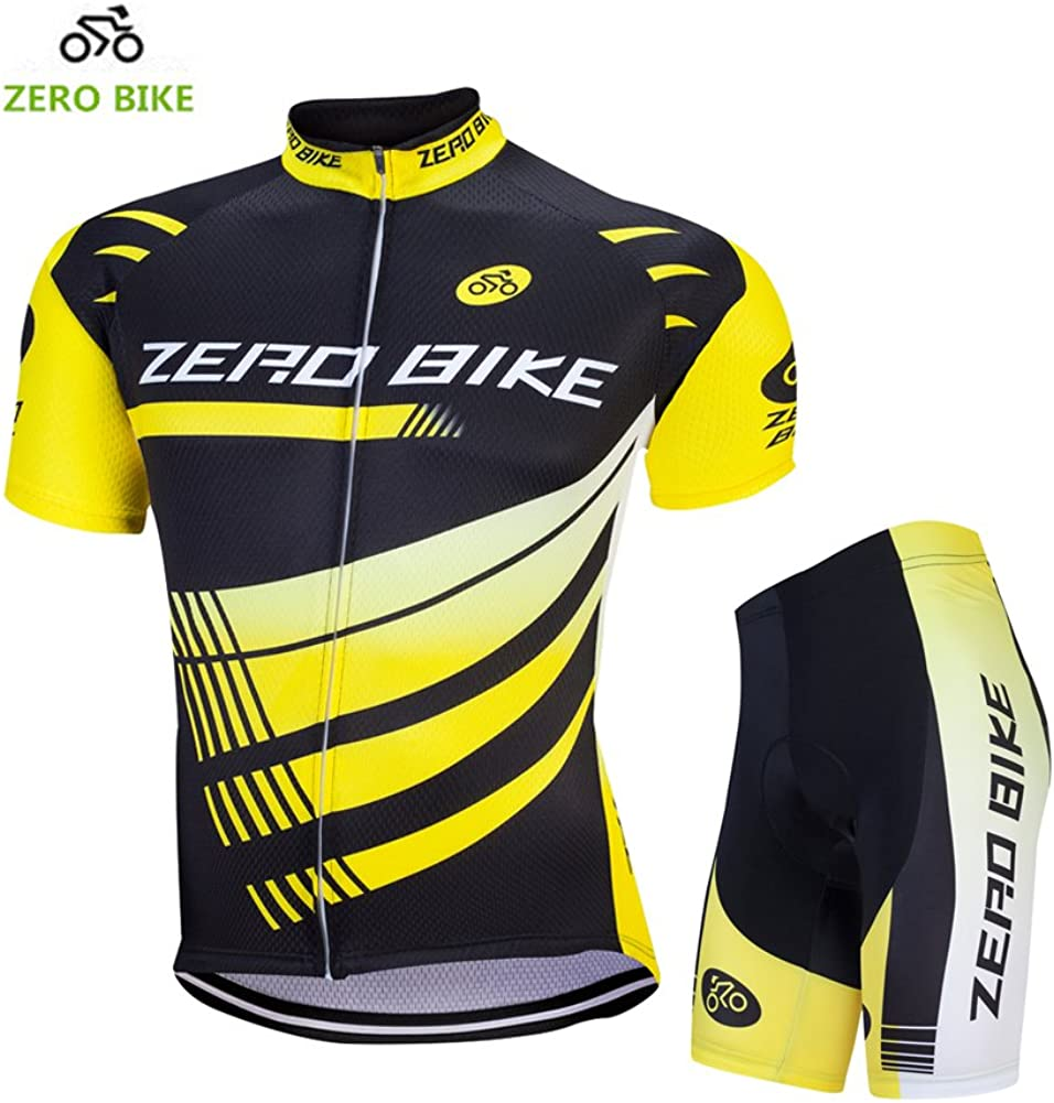ZEROBIKE Men Breathable Quick Dry Comfortable Short Sleeve Jersey + Padded Shorts Cycling Clothing Set Cycling Wear Clothes: Clothing