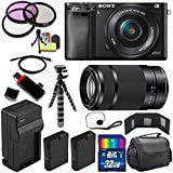 Sony Alpha a6000 Mirrorless Digital Camera with 16-50mm Lens (Black) + Sony E 55-210mm f/4.5-6.3 OSS E-Mount Lens 32GB Bundle 23 - International Version (No Warranty)