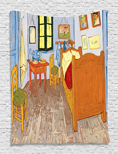 Cheap Van Gogh Tapestry Rustic Wall Decor Van Gogh Artwork Oil Painting Reproduction Fabric Tapestry Home Accessories Decorations House Pictures for Living Room Sweet Family Wall Hanging, Orange Blue