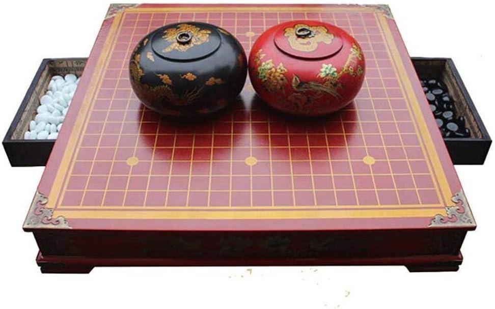 Lcxliga Go Set, Tabla Antiguo del ajedrez Juego de ajedrez Tablero de Madera cajón Grande (Rojo): Amazon.es: Hogar