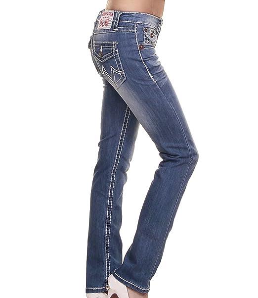 Pantalones vaqueros con costura gruesa, cinco bolsillos, corte bajo azul 40 : Amazon.es: Ropa y accesorios