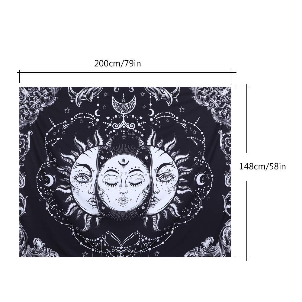 DoreenBow Tapisserie Murale /à Suspendre Impression Lune et Soleil Art Style Indien Tapisserie de Boh/ême Tapisseries D/écoratives Arri/ère-Plans Tenture Murale