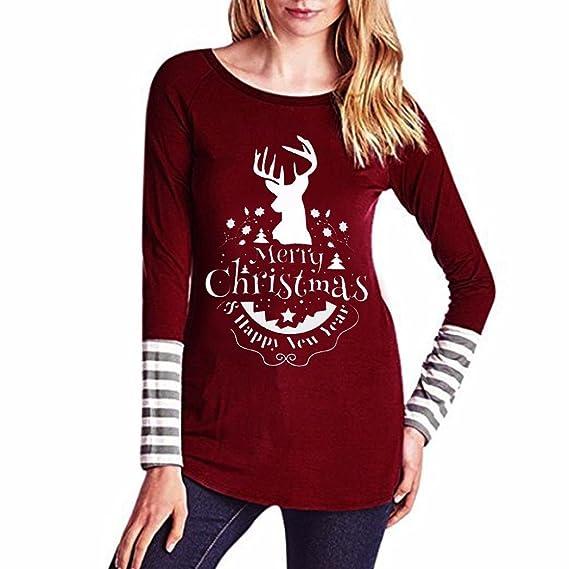 OverDose camisas mujer de navidad blusa manga larga reno O-cuello: Amazon.es: Ropa y accesorios
