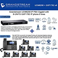 Grandstream UCM6208 IP PBX Gigabit with 8-UNITS GXP1782 IP phone 8 lines