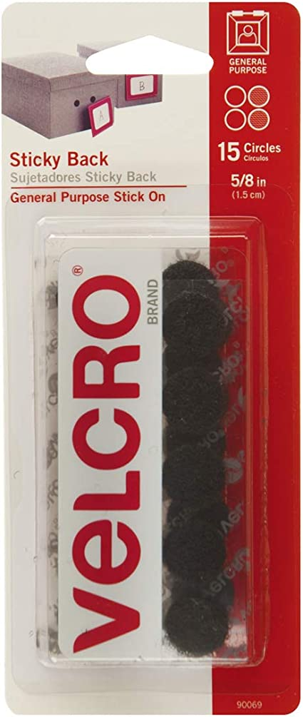 Amazon Com Velcro Brand Sticky Back Hook And Loop Fasteners Perfect For Home Or Office 5 8in Coins Pack Of 15 Black Office Products