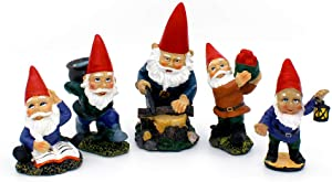 NW Wholesaler Miniature Garden Gnomes 5 Pc. Collection - Red Hat Indoor Outdoor Gnome Figurines for Fairy Garden, Yard, Planter, Holiday Display