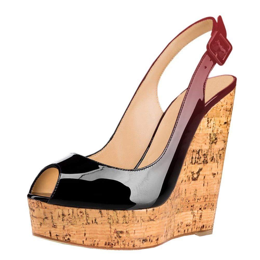 Pink Heels Addict's Women's shoes Peep-Toe Patent Leather Sling-Back Wedge Heeled Platform Sandals