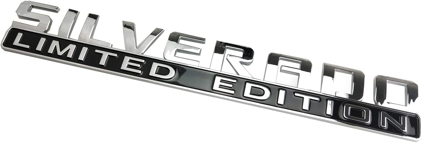 2pcs Chrome Nameplate Letter Decal Emblems 3D Badge Replacement for Silverado Limited Edition 1500 2500HD 3500HD Silverado
