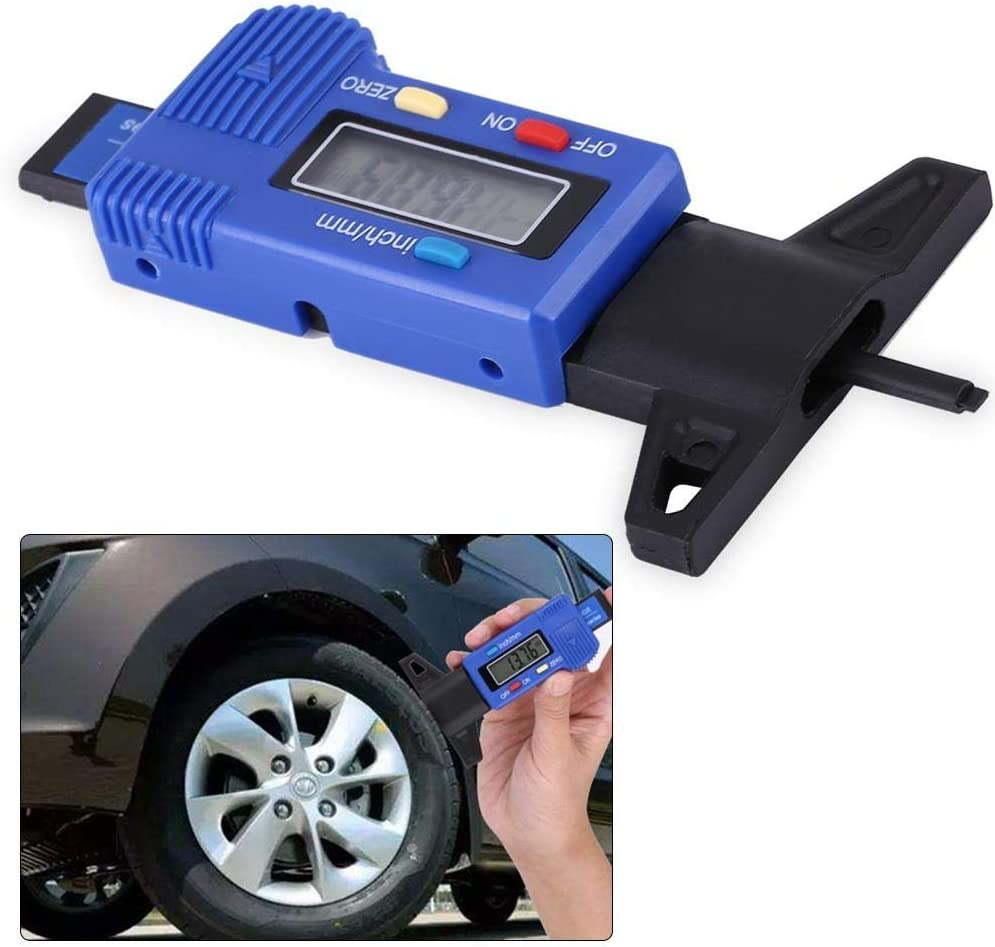 Outbit Profiltiefenmesser 1 ST/ÜCK von Auto Digital Reifen Reifen Profiltiefenmesser Messen Metrisch//Zoll 0-25.4mm Blau.