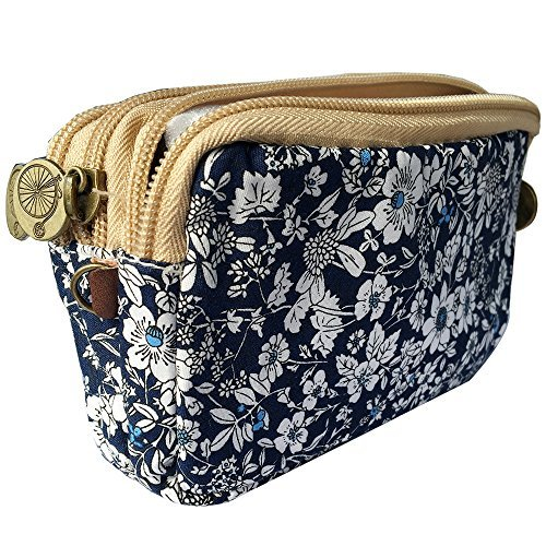 HLBiuty Girls Women's Canvas Vintage Floral Zip Mini Wallet 3 Layers Coin Purse Blue Cloth White Flower from Homelink