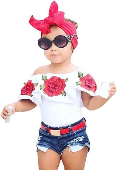 Angelof Shirt /Épaule D/énud/é Bambin Enfants Top /à Volants Broderie Rose B/éb/é Fille Blouse Blanc Habits D/Ét/é 1-5 Ans