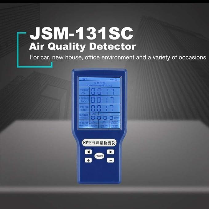 Medidores multifuncionales de CO2 HCHO TVOC ppm Mini detector de di/óxido de carbono Analizador de gases Probador de calidad del aire protable VISLONE Monitor de Calidad Del Aire