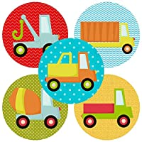 Truck Sticker Labels - Kid Children Boy Birthday Baby Shower Transportation Party Favors - Set of 50